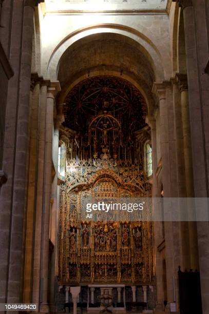 Main altar and flemish altarpiece of the Se Velha (old cathedral) of Coimbra, Portugal