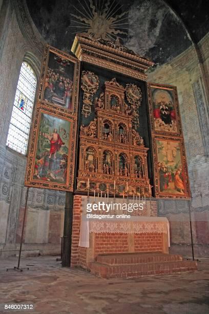 Main Altar with Polyptych in the Cistercian Abbey Abbazia di Staffarda near Saluzzo Piedmont Italy