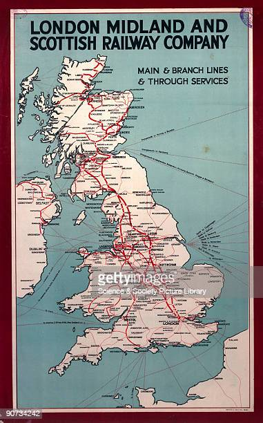 Main and branch lines through services LMS poster c1930s Poster produced for the London Midland Scottish Railway showing a map of the British Isles...