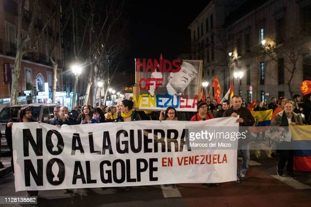 Main banner with the words 'No to war, no to the coup in Venezuela', during a demonstration supporting Venezuelan president Nicolas Maduro.