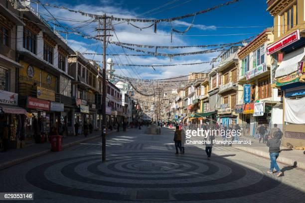Main Bazaar in Leh city, Ladakh, India