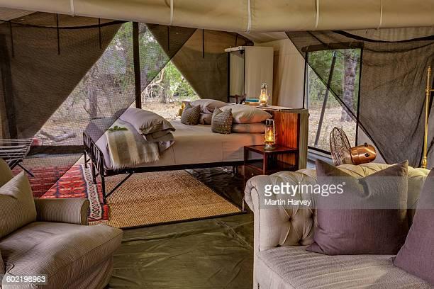 Main bedroom of luxury family tent, Machaba Camp, Okavango Delta, Botswana