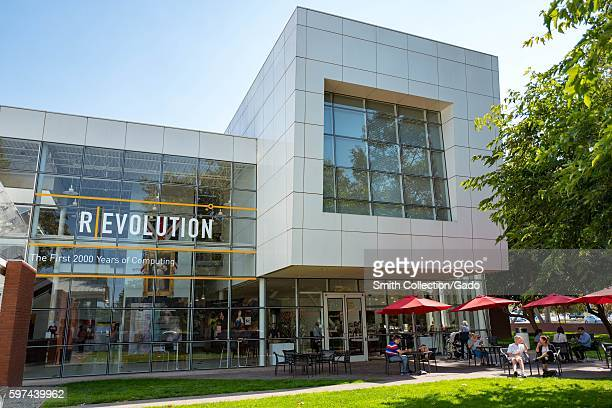 Main building at the Computer History Museum in the Silicon Valley town of Mountain View, California, with outdoor tables for Cloud Bistro visible,...
