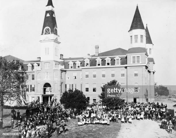 Main building of Claflin University Orangeburg SC Crowd standing before the main building