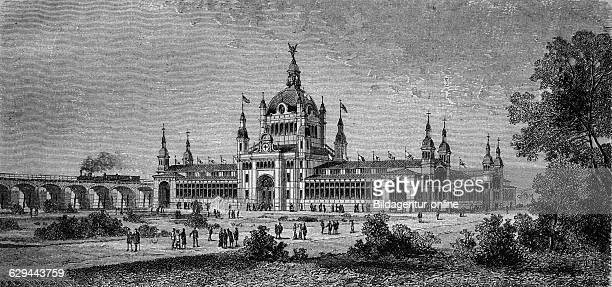 Main building of the general german exhibition of hygiene and rescue in berlin germany wood engraving europe