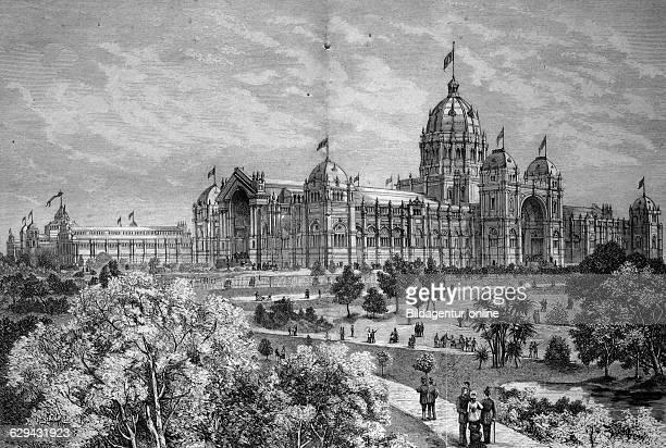 Main building of the world's fair international exhibition of arts in melbourne australia historical illustration circa 1886