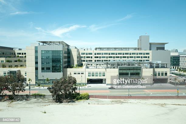 Main building of UCSF Benioff Children's Hospital with 3rd Street and 16th Street visible in the Mission Bay neighborhood of San Francisco California...
