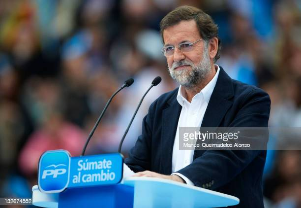 Main candidate for the Spanish general elections Mariano Rajoy of the Popular Party looks on during a campaign meeting at the Plaza Valencia bullring...