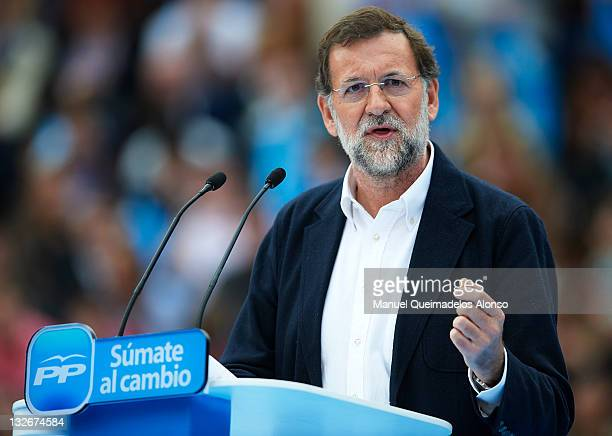 Main candidate for the Spanish general elections Mariano Rajoy of the Popular Party speaks a campaign meeting at the Plaza Valencia bullring on...