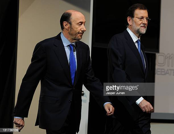 Main candidates for the Spanish general elections Alfredo Perez Rubalcaba of the Socialist Party and Mariano Rajoy of the Popular Party arrive for...