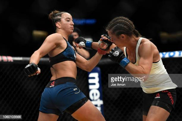 Main Card Maycee Barber relentlessly pounds Hanna Cifers in her second round TKP of the woman's strawweight 3 round bout during UFC Fight Night Main...