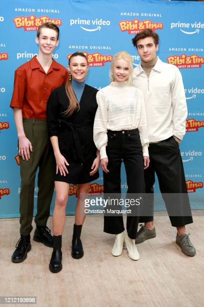 Main Cast Benjamin Weygand Harriet HerbigMatten Katharina Hirschberg and Christoph Moreno attend the photo call for the series Bibi Tina at Hotel...