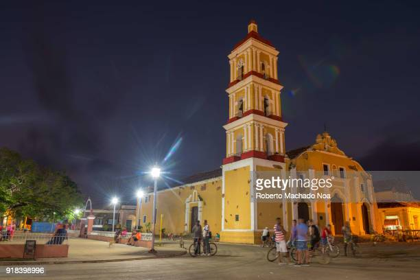 Main Catholic Church at night The colonial architecture building is named Saint John the Baptist The village is a tourist attraction