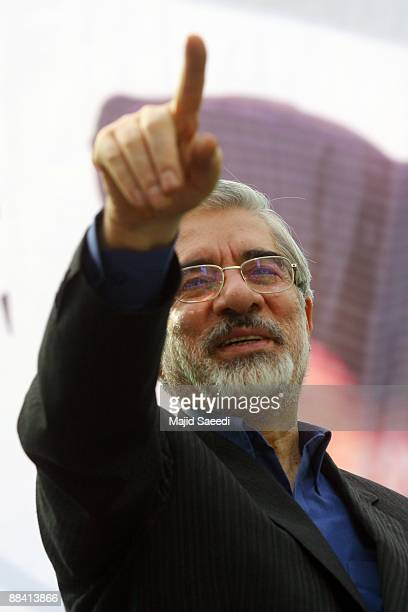 Main challenger and reformist candidate Mir Hossein Mousavi arrives by plane for the final day of election rallies on June 10 2009 in Khoramabad Iran...