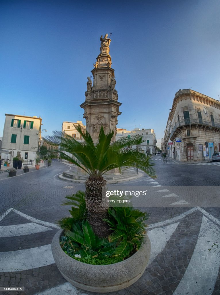 Main city center of old town with Column of Saint Oronzo : Stock Photo