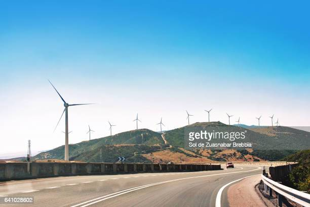 Main coastal route surrounded by wind turbines
