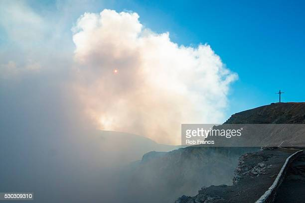 main crater of masaya volcano caldera, nicaragua's first national park, its vent is usually shrouded in smoke, masaya, nicaragua, central america - masaya volcano stock pictures, royalty-free photos & images