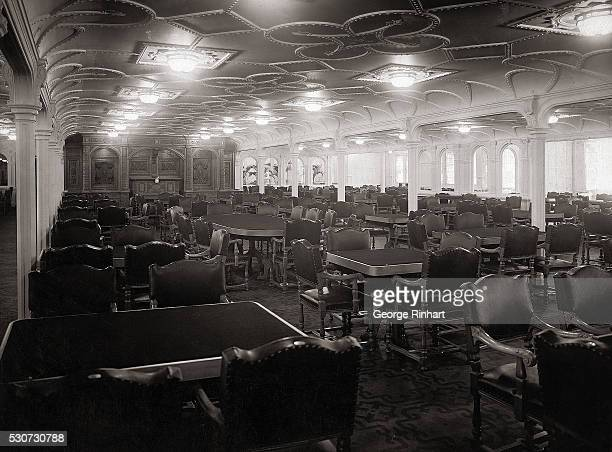 Main dining room of the SS Titanic The largest ship in the world in its day the Titanic sank after hitting an iceberg on its maiden voyage from...