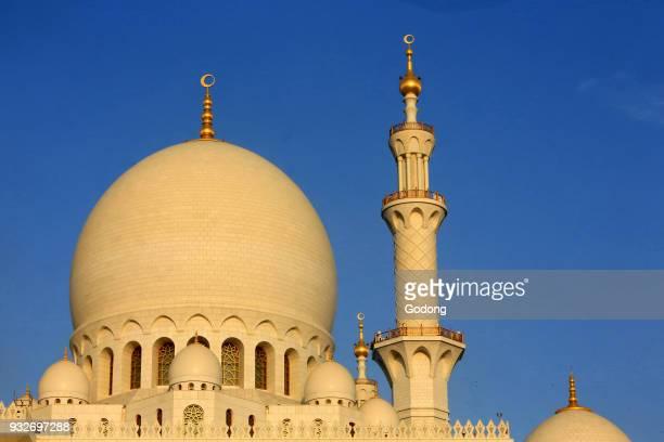 Main dome and minaret Sheikh Zayed Mosque 1995 Emirate of Abu Dhabi