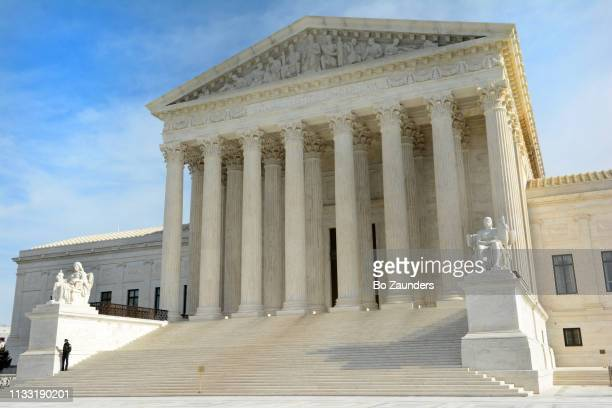 Main entrance and west facade of the Supreme Court Building of the United States, in Washington DC.