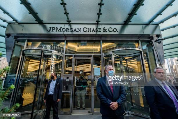 Main entrance at JPMorgan Chase headquarters in New York City.