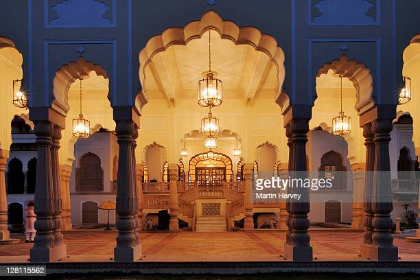 Main entrance at the Taj Rambagh Palace Hotel in Jaipur, part of the Taj Hotel Group. India.