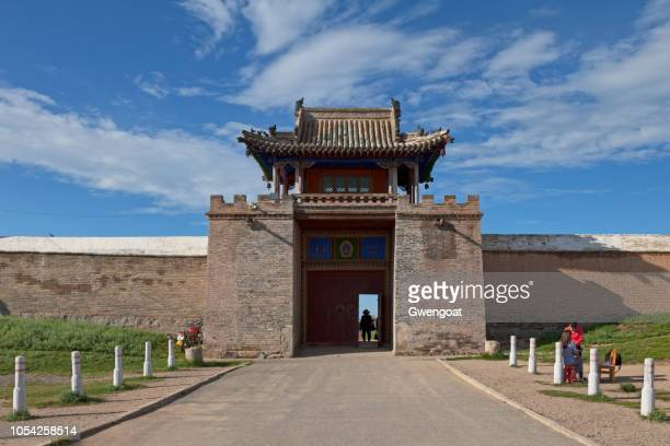 main entrance of erdene zuu monastery in mongolia - gwengoat stock pictures, royalty-free photos & images