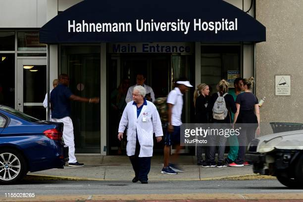 Main entrance of Hahnemann University Hospital in Philadelphia PA on July 10 2019 The struggling Center City located hospital owned by American...