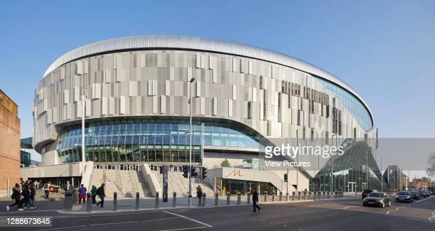 Main entrance on Tottenham High Road. The New Tottenham Hotspur Stadium, London, United Kingdom. Architect: Populous, 2019.
