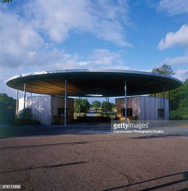 Main entrance to National Botanic House of Wales Carmarthenshire, Wales, United Kingdom Designed by Norman Foster and Partners.