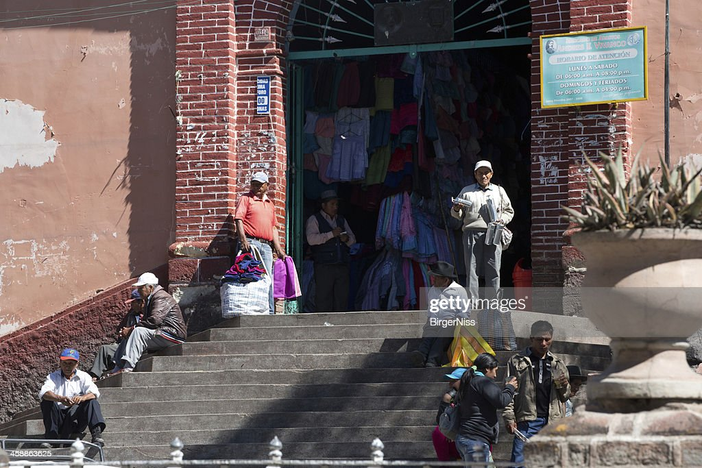 Main entrance to the indoor market in Huamanga, Peru : Stock Photo