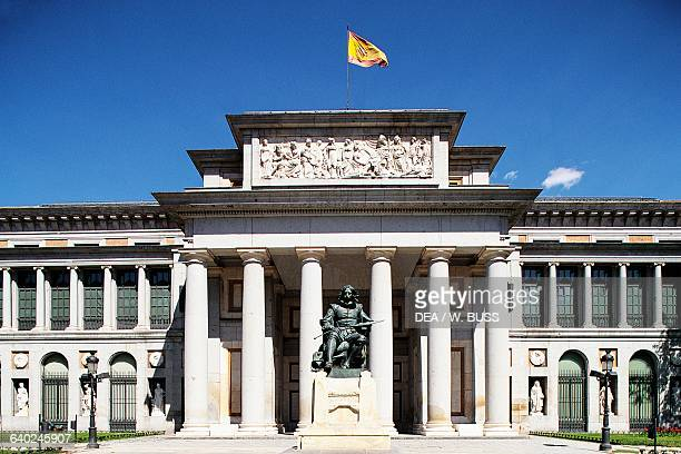Main entrance to the Prado Museum with the monument to Diego Velazquez by Aniceto Marinas Madrid Spain