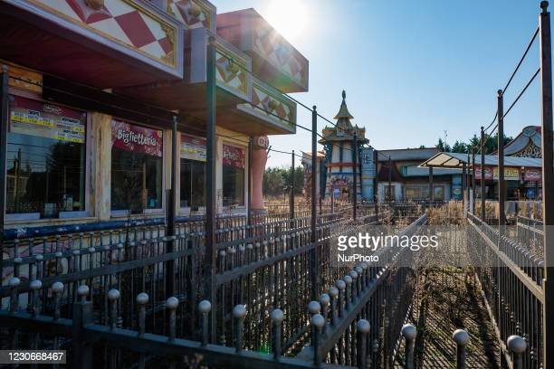 Main entrance where the ticket office of the Miragica amusement park was located in a state of abandonment after the bankruptcy, in Molfetta, Italy...