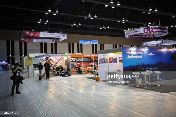 Main exhibition hall is being set up for the tomorrow's opening during the second day of the Sport Accord 2018 at the Centara Grand Bangkok...