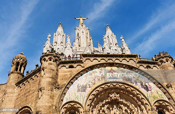 main façade of sacred heart temple, barcelona - sagrat cor stock pictures, royalty-free photos & images
