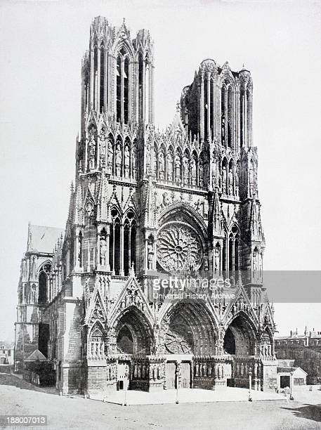 Main Facade Of NotreDame De Reims Cathedral France As Seen In The Early 20Th Century Before It Was Damaged In The First World War From La Esfera 1914