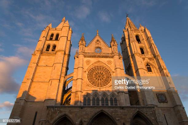 Main facade of the gothic cathedral of Leon (Spain) at sunset
