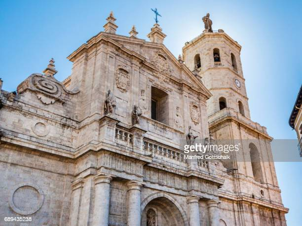 main facade of valladolid cathedral - valladolid spanish city stock pictures, royalty-free photos & images