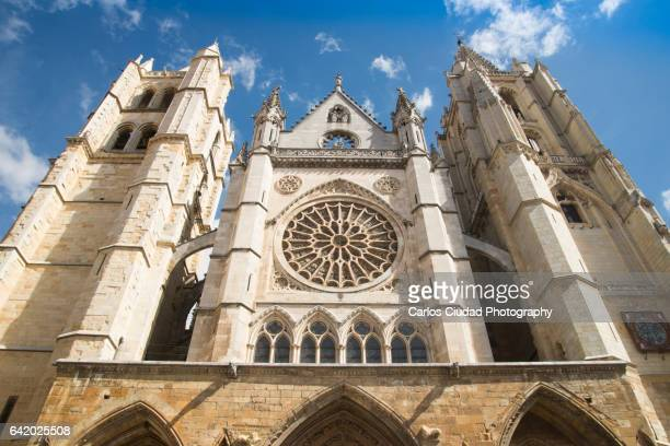 Main front of the gothic cathedral of Leon, Castilla and Leon, Spain