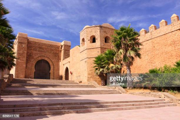 main gate of the kasbah of the udayas in rabat, morocco. - rabat morocco stock pictures, royalty-free photos & images