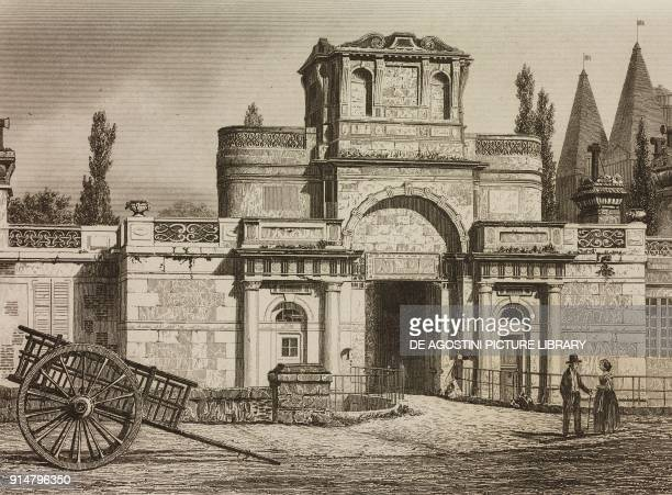 Main gate to the Anet Castle France engraving by Lemaitre from France troiseme partie L'Univers pittoresque published by Firmin Didot Freres Paris...