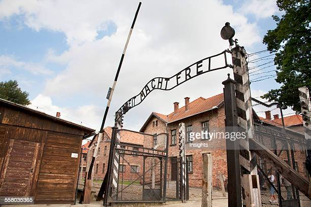 Main Gate With The 'arbeit Macht Frei' Slogan Over It Auschwitz Concentration Camp Oswiecim Malopolska Poland