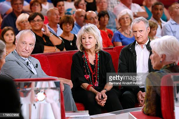 Main guest actor Francois Berleand with actors Mylene Demongeot Daniel Prevost and singer Line Renaud attend 'Vivement Dimanche' French TV Show at...