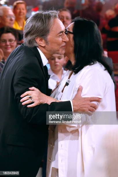 Main Guest actor Richard Berry and singer Nana Mouskouri attend 'Vivement Dimanche' French TV Show at Pavillon Gabriel on September 11 2013 in Paris...
