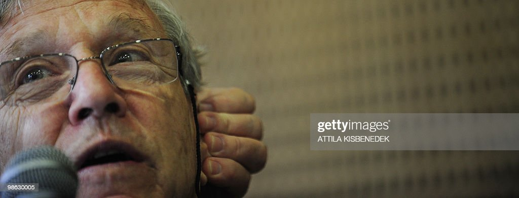 Main guest Israeli writer Amos Oz listens to a journalist's question during his press conference of the 17th International Book Festival (IBF) in the Millenaris Culture Center of Budapest on April 23, 2010. IBF hosts representatives of world literature and of domestic intellectual life including more than 100 authors from 24 countries and more than 400 Hungarian authors, scientists, and artists as the main geust-country is Israel.