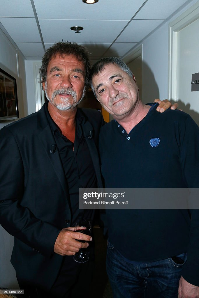 Main Guest of the Show actor Olivier Marchal and Humorist Jean-Marie Bigard attend the 'Vivement Dimanche' French TV Show at Pavillon Gabriel on December 15, 2015 in Paris, France.