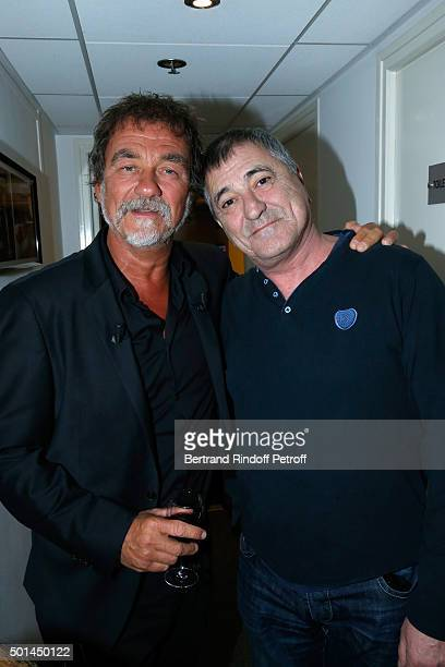Main Guest of the Show actor Olivier Marchal and Humorist JeanMarie Bigard attend the 'Vivement Dimanche' French TV Show at Pavillon Gabriel on...