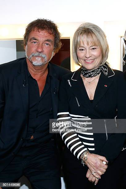 Main Guest of the Show actor Olivier Marchal and Martine Monteil who presents her book 'Flic tout simplement' attend the 'Vivement Dimanche' French...