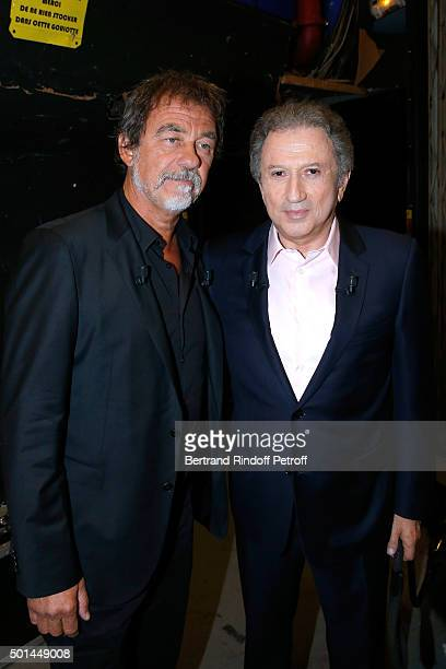 Main Guest of the Show actor Olivier Marchal and Presenter of the Show Michel Drucker attend the 'Vivement Dimanche' French TV Show at Pavillon...
