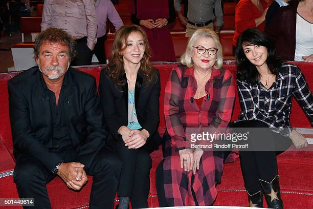 Main Guest of the Show actor Olivier Marchal Sylvie Testud Josiane Balasko and Zabou Breitman attend the 'Vivement Dimanche' French TV Show at...